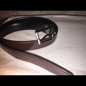 "Perry Ellis 36"" Mens leather reversible dress belt"